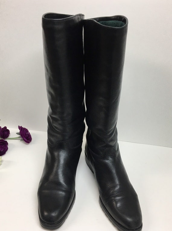 Pull on Black Boots, Womens knee high boots, Prep… - image 2
