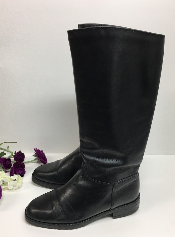Pull on Black Boots, Womens knee high boots, Prep… - image 6