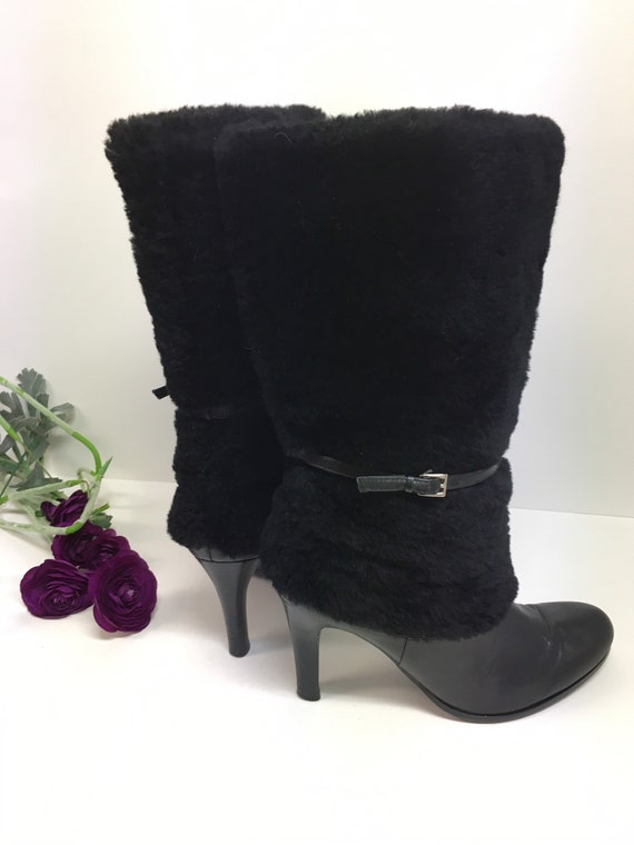 Black Leather Pull On Boots/Black Furry Boots Size
