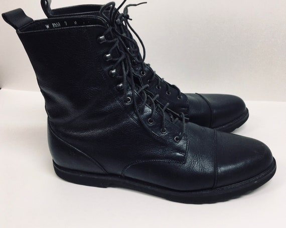 Womens Black Leather Combat Biker Ankle Boots - La