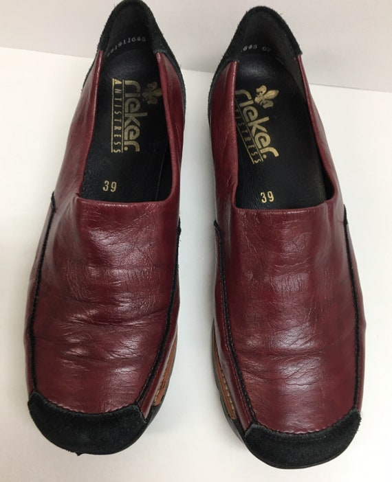 Vintage womens shoes - Red leather square toe loaf