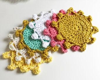 Little Sol Coasters · Intermediate/Advanced Beginner Level Crochet Pattern Booklet · Instant PDF Download · Emmaknitty