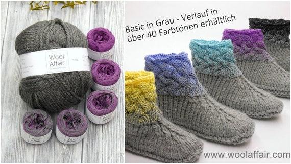 Wollpaket Flechtmuster-Hausschuhe komplettes Set | Etsy
