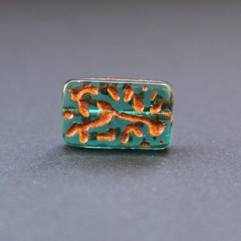 bronze Czech Glass Rectangle Beads 18x11mm5pcs emerald