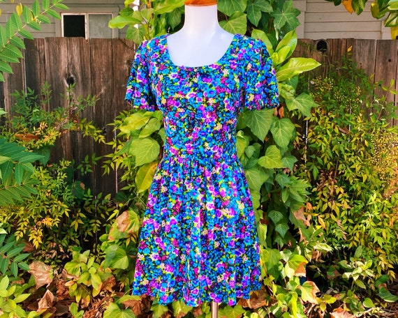 1970's Floral Bark Cloth Flutter Sleeve Mini Dress