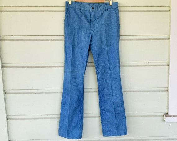 RARE 70s Dittos Powder Blue Flecked Denim Straight