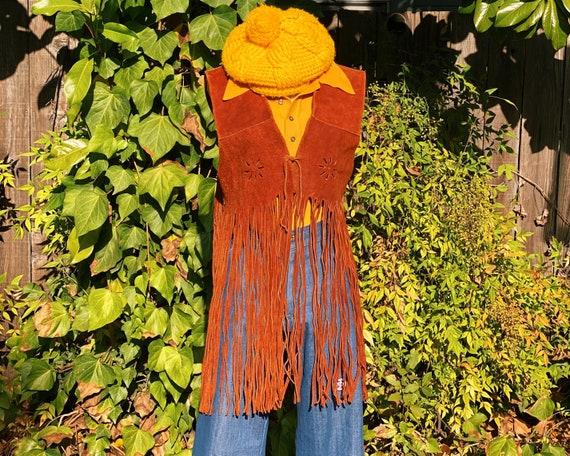 1960's Suede Leather Extra Long Fringe Cutout Vest