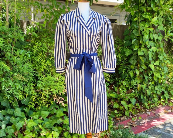 1970's Act I Striped Puff Sleeve Secretary Dress
