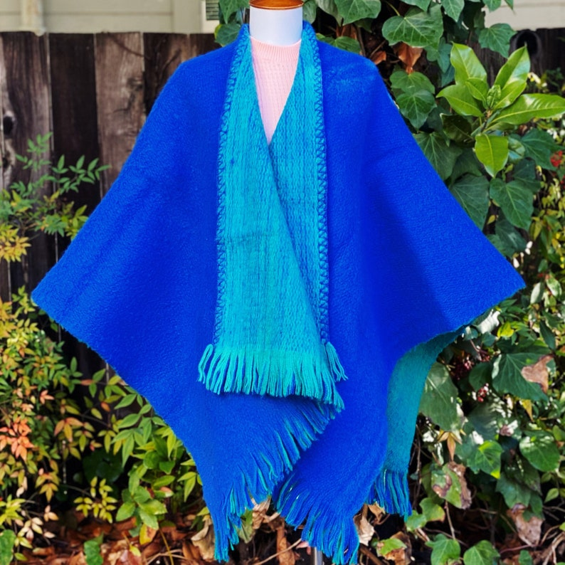1970s Hand Knit MohairWool Reversible Poncho