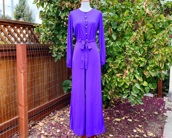 1970's Sears Deep Purple Nylon Lounge Jumpsuit