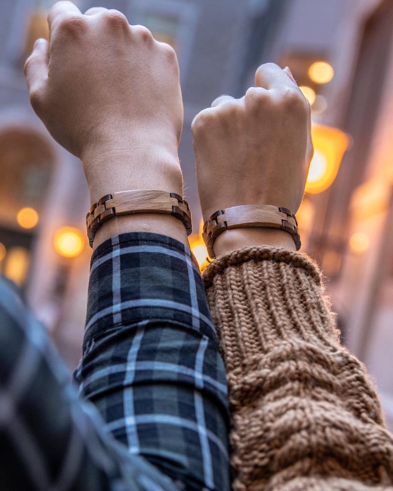 Engraved Wood bracelet Mens Women's Wood BraceletsGift Maple and zebra wood