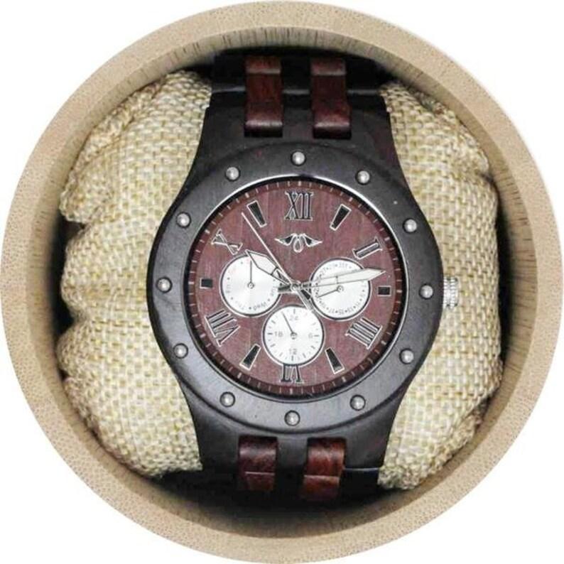 c020730e00fc Reloj grabado de ébano para hombres con pulsera de ébano y