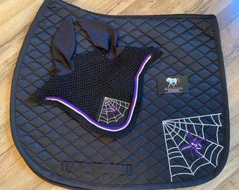 Custom Halloween spider web - Horse all purpose saddle pad and bonnet