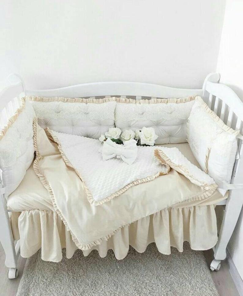 Kinderbett Stoßstange Babybettwäsche Set Baby Mädchen Etsy
