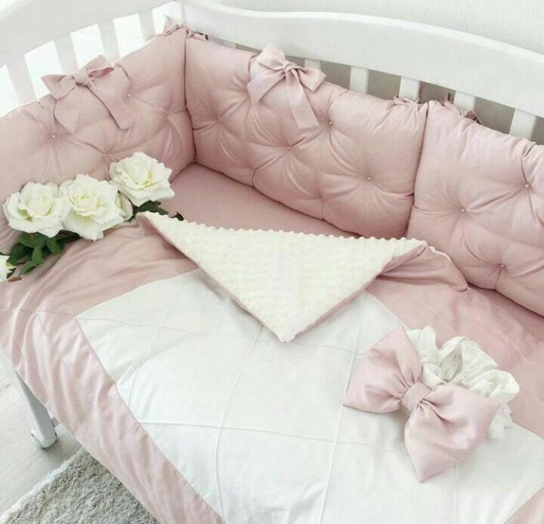 Lit bébé tour de lit bébé literie ensemble bébé fille cadeaux de lit tour  de lit bébé fille chambre d'enfant Set chambre d'enfant lit ensembles lit  ...