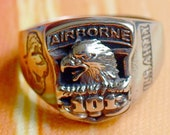 US Army Men Ring Signet 101st Airborne Division Troopers Soldiers Eagle Veteran Stainless Steel Size 11