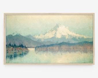 Frame TV Art, Samsung Frame TV Art, Digital Download, Mt Rainier, seascape, mountain, landscape, oil painting, vintage, lake, washington