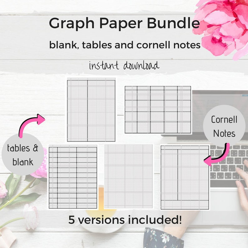 Graph Paper Bundle Graph Paper Printable Note Taking Paper image 0