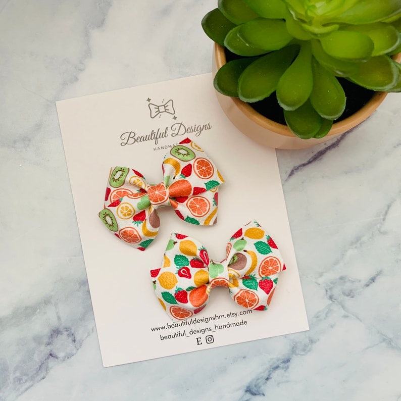 Tutti Frutti Mini Lou Bow Toddler Bow Newborn Headband Gift For Girl Vegan Leather Bow Pigtail Bows Baby Girl Bow Headband 2.5 Inches