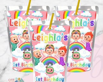 Children Rewards and Baby Shower Birthday Decoration Pack HAOORYX Cocomelon Party Favor Bags 50pcs Plastic Gift Bag Goodies Candy Treat Bags for Kids Cute Cocomelon Theme Birthday Party Supplies