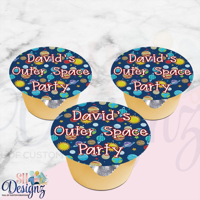 Outer Space Party Applesauce labels Digital Printed Space Party
