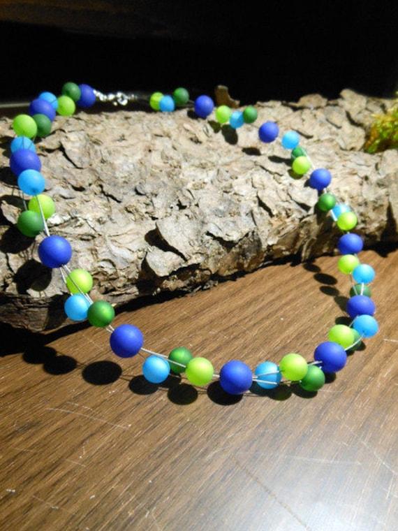Neu unikat grün Polariskette Halskette Collier Polarisperlen Polaris kette
