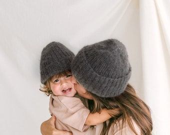 Mommy and me matching knit hats, gray mom and baby twining hats, mini me matching cable knit hats, matching mother and daughter or son hats