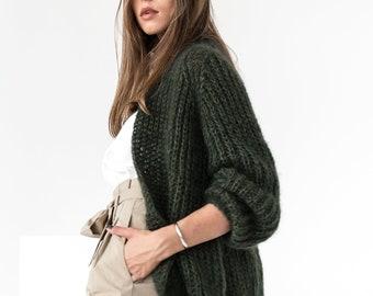 Mohair cardigan, mohair sweater, alpaca sweater, fuzzy cardigan, oversized sweater, oversized cardigan, chunky cardigan, green cardigan