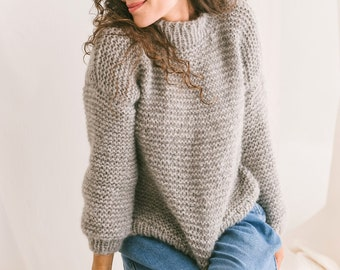 Light Gray Cable Knit Sweater, Relaxed Fit Jumper, Grey Alpaca Pullover, Chunky Knit Wool Sweater, Knitted Jumper, Oversized Woman Sweater
