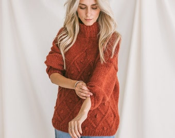 Orange Sweater, Soft Cable Knit Jumper, Tabasco Alpaca Pullover, Chunky Knit Wool Sweater, Balloon Sleeve Pullover In Red, Knitted Jumper
