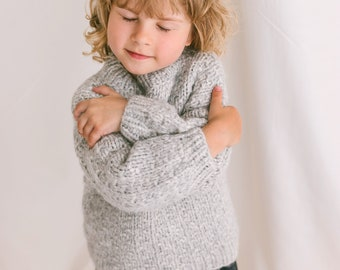 Gray Cable Knit Kids Sweater, Soft Toddler Pullover, Alpaca Wool Grey Jumper, Knitted Baby Sweater, Girls Sweater, Chunky Boys Jumper,Unisex