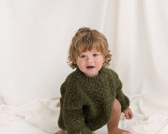 Green Cable Knit Kids Sweater, Moss Green Toddler Pullover, Alpaca Wool Olive Green Jumper, Knitted Baby Sweater, Oversized Boys Sweater,