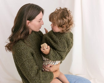 Matching Mommy and Me Cable Knit Sweaters, Olive Green Me & Mini Me Jumpers, Soft Mini Me Matching Toddler Pullover, Alpaca Mummy Son Jumper