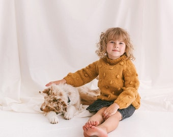 Yellow Cable Knit Kids Popcorn Sweater, Soft Mustard Toddler Pullover, Alpaca Wool Bubbles Jumper, Curry Knitted Baby Sweater, Girls Sweater