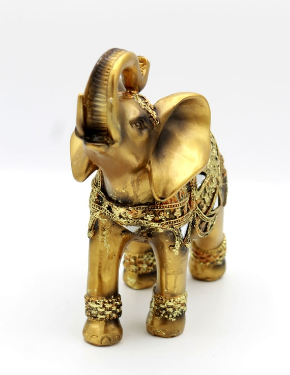 """Brass Color Elegant Elephant Statue with Trunk Facing Upwards Feng Shui 8"""" H"""