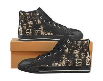 horror high tops horror sneakers horror converse horror movie thriller shoes kids womens mens halloween horror movie