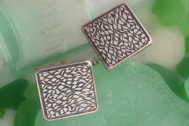 Sterling silver handmade square cufflinks with ripple pattern