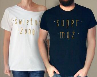 dcc839009d40 Świetna Żona Super Mąż Koszulki Tshirt Dla ParyKoszulka Tshirt T-shirt  Oversize Slouchy OffShoulder Polska Shirt Poland Tee Gift Funny