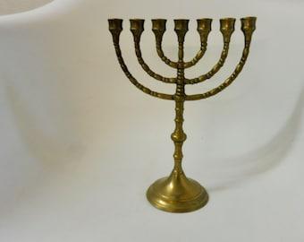 Kerzenhalter Davidleuchter Messing runder Fuß Geschenk 7 Arme Menora Leuchter