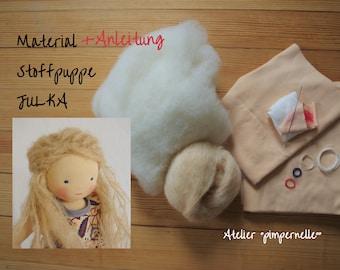 Instructions+material rag doll JULKA - 30 cm - incl. doll pin - tutorial doll according to Waldorfart - incl. sewing machine yarn