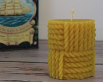 Rope Pillar Beeswax Candle, Pure 100% Beeswax Handcrafted Natural Candle, Nautical Beach House Decorative Decor, Cable Knit Pillar Candle