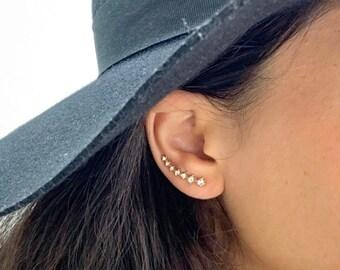 ear crawler ear pin blue ear pin royal blue ear limbers earpins ear climber rose gold, Rose Gold ear Climbers royal blue earring