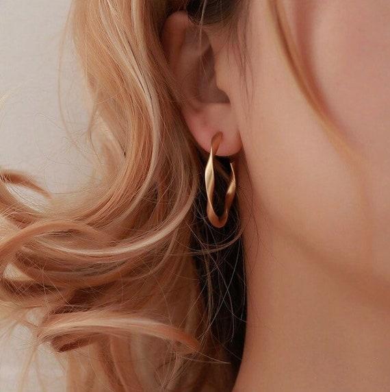 gold-twisted-hoop-earrings,-gold-hoop-earrings,-vintage-earrings,-statement-earrings,-boho-earrings,-thin-hoop-earrings,-hoop-earrings,-gift by etsy