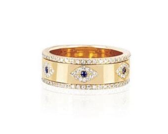 Evil Eye Ring, Evil Eye Ring Gold, Evil Eye Jewelry, Protection Ring, Eye Ring, Evil Eye, Statement Ring, Stacking Ring, Gift for her