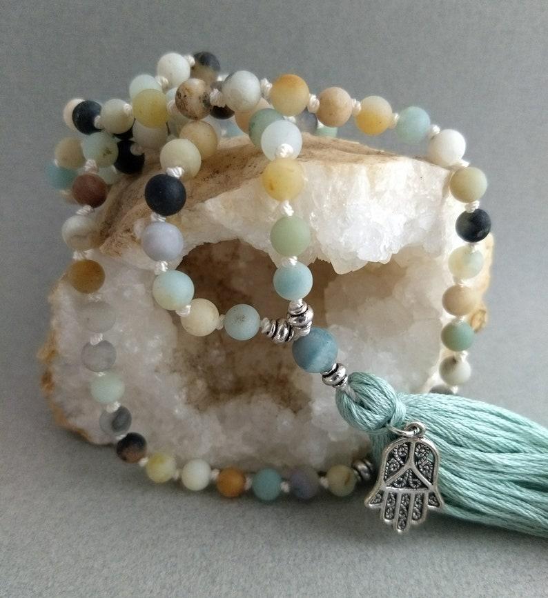 108 hand-knotted bead boho yoga tassel necklace with hamsa hand charm Amazonite japa mala