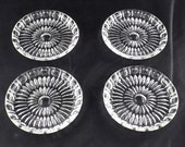 Set of 8 German 24 Lead Crystal Wine Champagne Coasters by Seebachhutte Cut Crystal with Dot Center 3-1 2