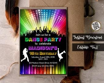 dance party invite etsy