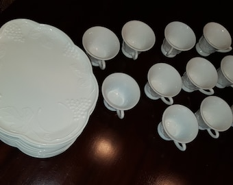 16893c49858e Vintage milk glass tea/snack set, service for 14