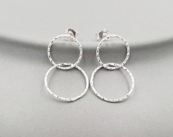Earrings Geometric Circle Duo Silver