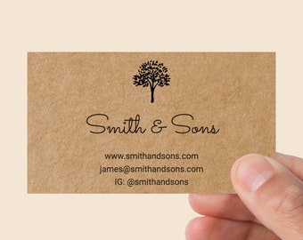 Recycled paper business cards etsy kraft business cards business calling cards brown kraft recycled paper custom business cards single sided etsy seller business cards reheart Images